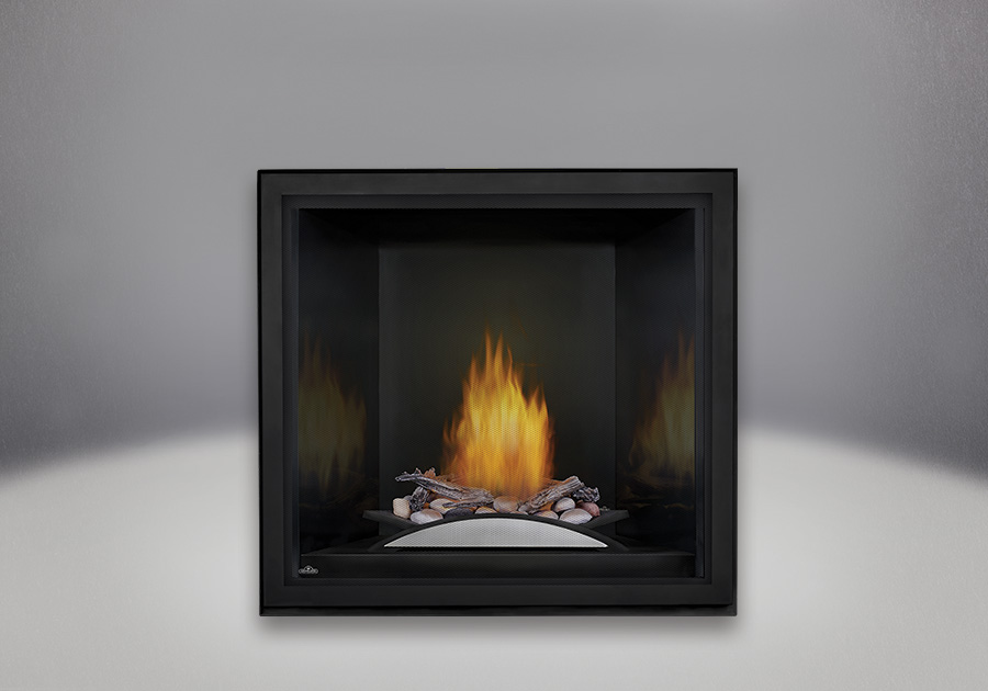 Fire Cradle with Driftwood Log and Rock Media enhancement kit, MIRRO-FLAME<sup>™</sup> Porcelain Reflective Radiant Panels