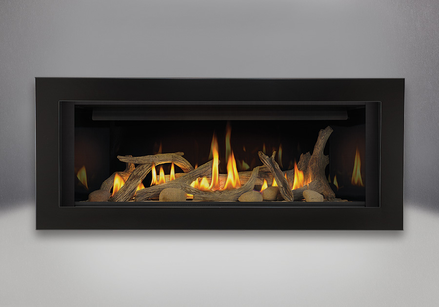 Driftwood Media Kit, MIRRO-FLAME<sup>™</sup> Porcelain Reflective Radiant Panels, Deluxe 4-Sided Surround – Painted Gloss Black