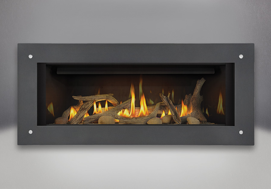 Driftwood Media Kit, MIRRO-FLAME<sup>™</sup> Porcelain Reflective Radiant Panels, Grey Linear Frame