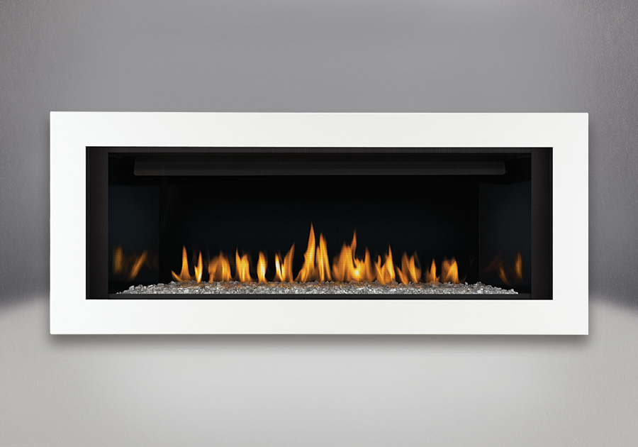 Topaz CRYSTALINE<sup>™</sup> Ember Bed, MIRRO-FLAME<sup>™</sup> Porcelain Reflective Radiant Panels, Deluxe 4-Sided Surround - Painted Gloss White