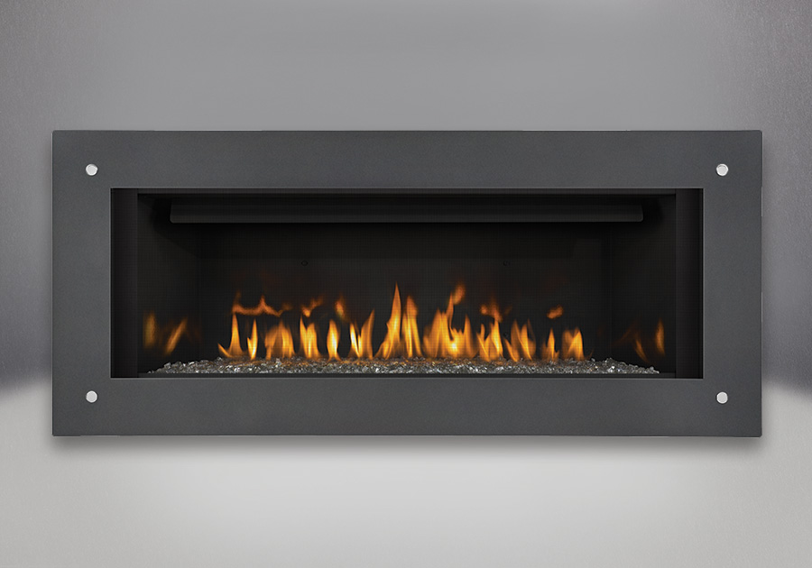 Topaz CRYSTALINE<sup>™</sup> Ember Bed, MIRRO-FLAME<sup>™</sup> Porcelain Reflective Radiant Panels, Linear Frame - Grey