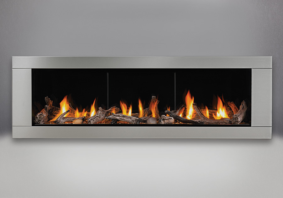 Driftwood Media Kit, MIRRO-FLAME<sup>™</sup> Porcelain Reflective Radiant Panels, Premium 4-Sided Surround – Brushed Stainless Steel Finish