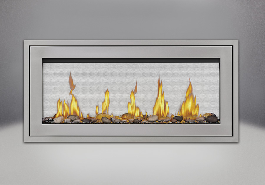 Finishing Trim (shown on Flush Frame) in Stainless Steel, Shore Fire Kits, MIRRO-FLAME<sup>™</sup> Porcelain Reflective Radiant Panels