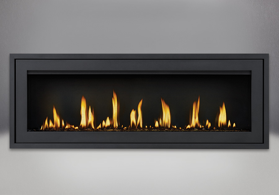 Finishing Trim (shown on Flush Frame) in Powder Coat Black, shown with Black Glass Beads, MIRRO-FLAME<sup>™</sup> Porcelain Reflective Radiant Panels
