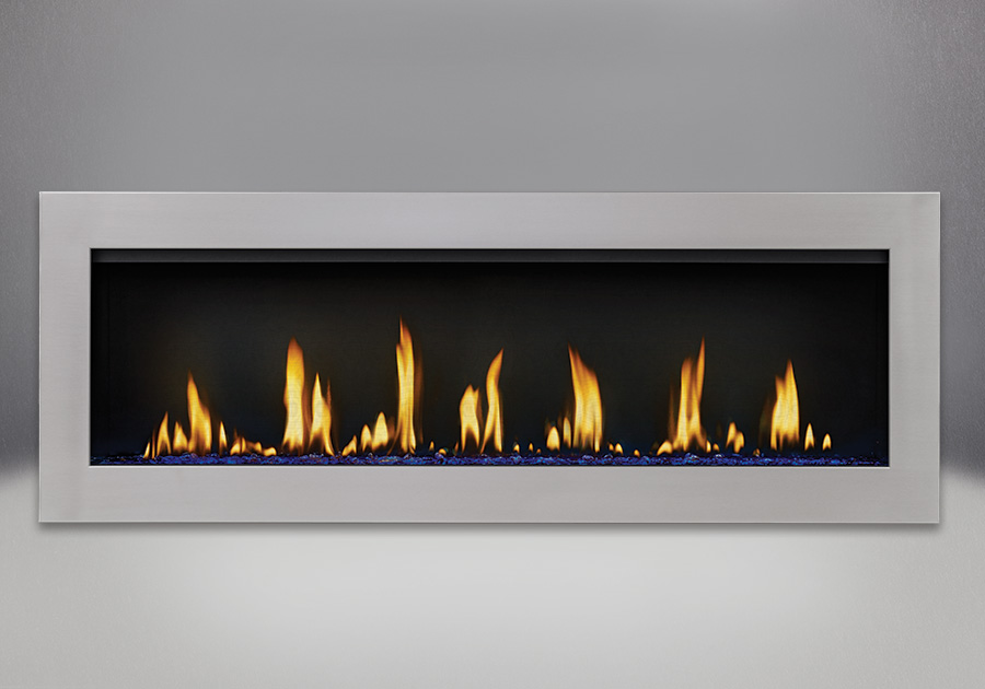 Flush Frame in Stainless Steel, shown with Blue Glass Beads, MIRRO-FLAME<sup>™</sup> Porcelain Reflective Radiant Panels