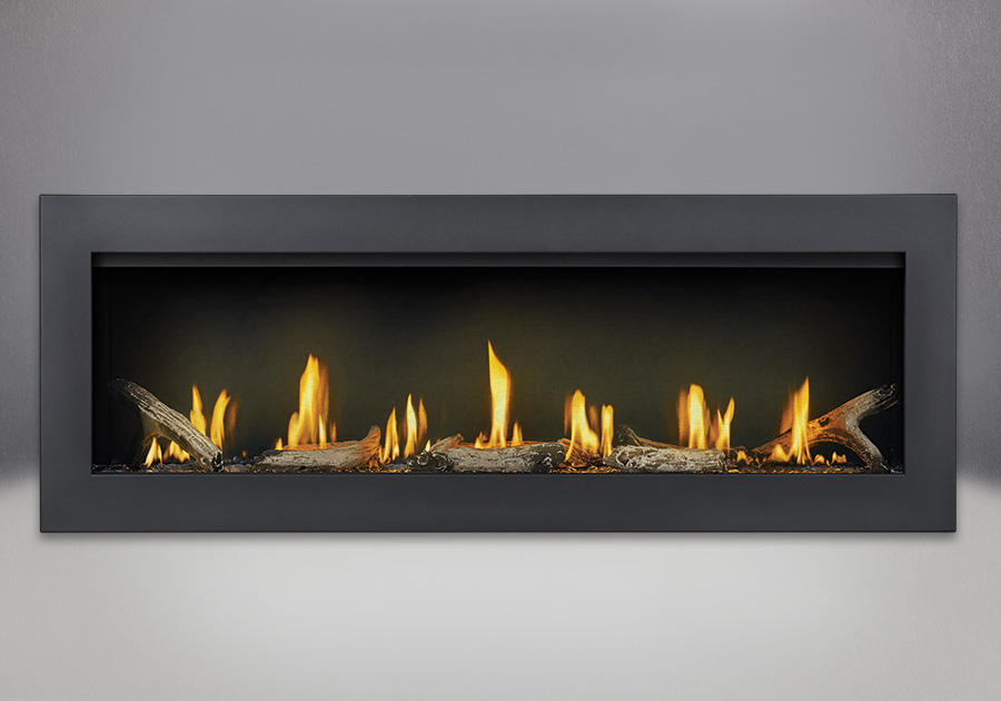 Flush Frame in Powder Coat Black, shown with Clear Glass Beads, Driftwood Media, MIRRO-FLAME<sup>™</sup> Porcelain Reflective Radiant Panels