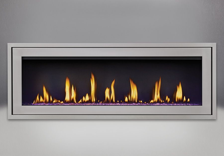 Finishing Trim (shown on Flush Frame) in Stainless Steel, shown with Clear Glass Beads on LED Purple Setting, MIRRO-FLAME<sup>™</sup> Porcelain Reflective Radiant Panels