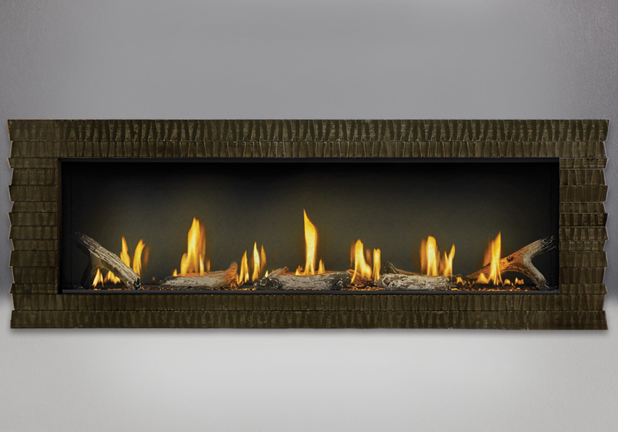 Hammered Steel Surround shown with Clear Glass Beads, Driftwood Media, MIRRO-FLAME<sup>™</sup> Porcelain Reflective Radiant Panels