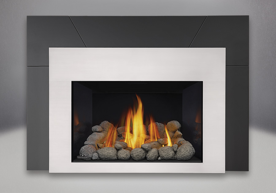 Grey River Rocks, MIRRO-FLAME<sup>™</sup> Porcelain Reflective Radiant Panels, Contemporary Front in Satin Chrome, Five Piece Surround Painted Black Finish 9″