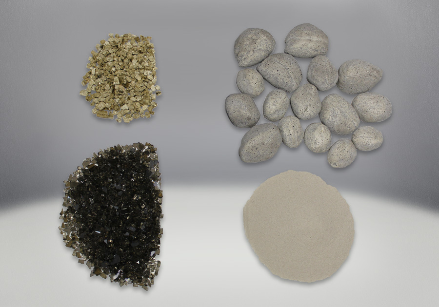 Shore Fire Kit, comes with a variety of Rock, Sand, Vermiculite, Glass and Sand Pans