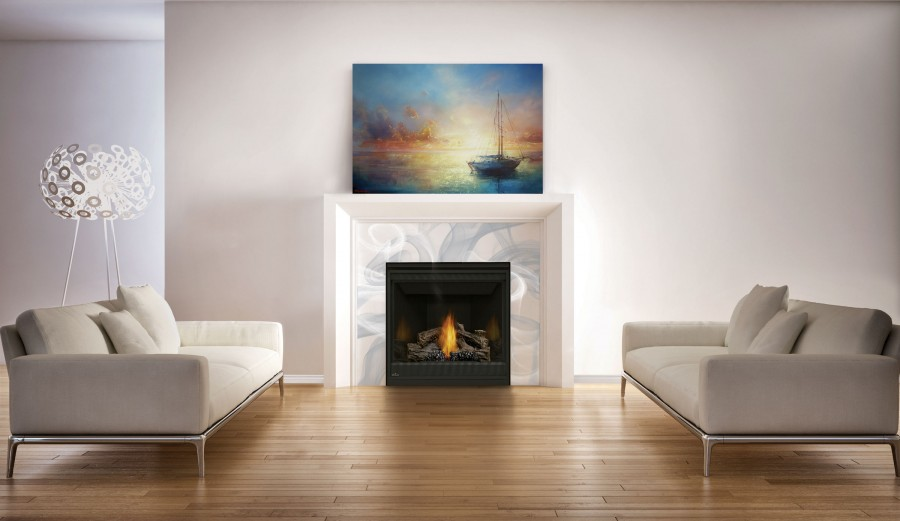 Ascent 35 fireplace with a hand painted tile surround