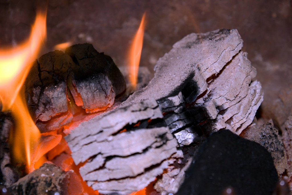 Burning wood charcoal