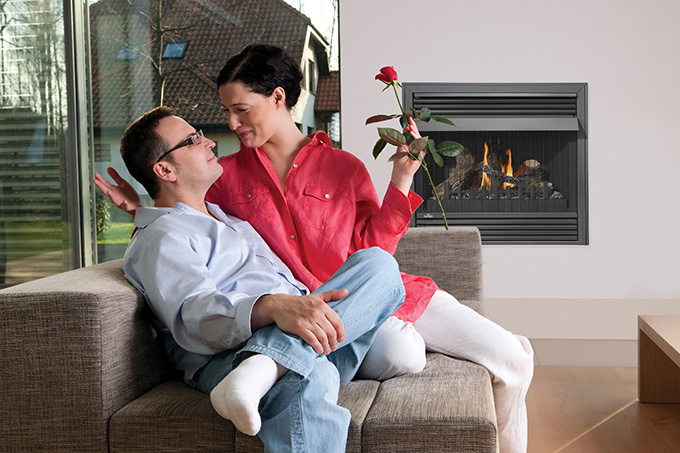 Couple Enjoying Fireplace