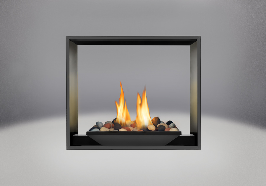 River Rock Media Burner, MIRRO-FLAME<sup>™</sup> Porcelain Reflective Radiant Panels, Painted Black Faceplate