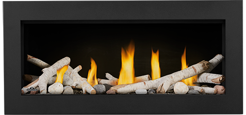 LV38 Media Option | Birch Logs, Shore Fire Kit, Classic Black Front