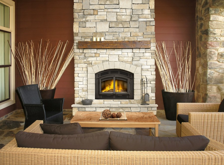 NZ3000 Wood Burning Fireplace with Shiplap on walls