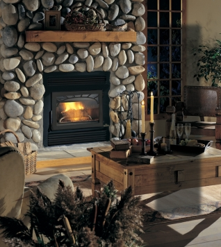 Solid wood fireplace mantel installed on a mansonry surround for a rustic look and feel