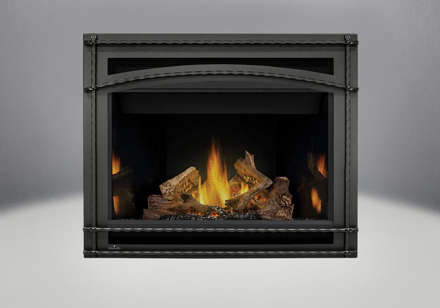 PHAZER<sup>®</sup> Log Set, MIRRO-FLAME<sup>™</sup> Porcelain Reflective Radiant Panels, Wrought Iron Front