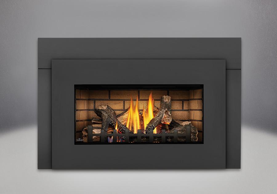 PHAZER<sup>®</sup> Logs, Sandstone Brick Panels, Black Faceplate, Deluxe Flashing Kit in 6
