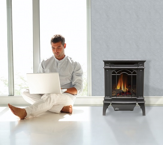 sitting beside vent free fireplace