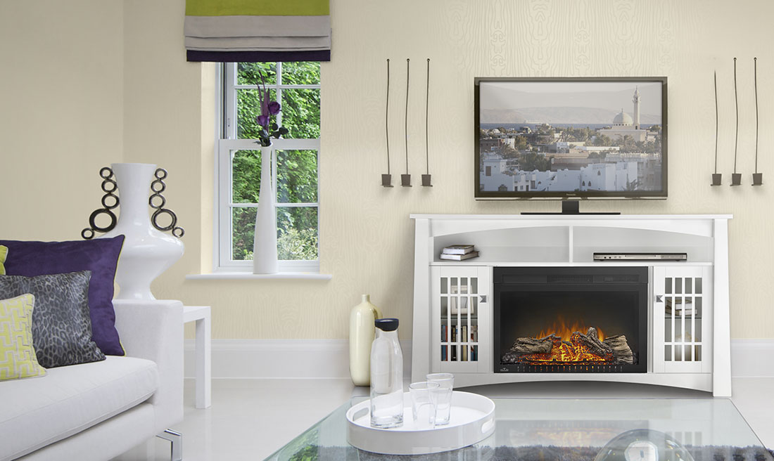The Adele electric fireplace mantel package by Napoleon is all modern flare with contemporary hardware