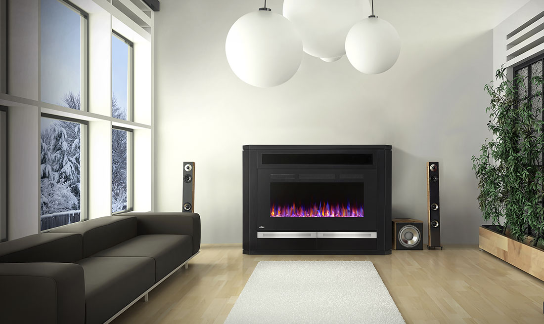 The Alanis Electric Fireplace Mantel Package by Napoleon is large enough to add drama to a space without being imposing.