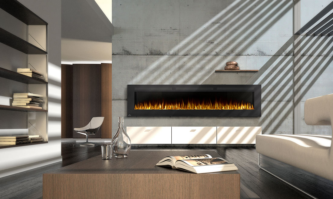 Make a statement with the Napoleon Allure 100 Electric Fireplace. This fireplace puts out an incredible 5