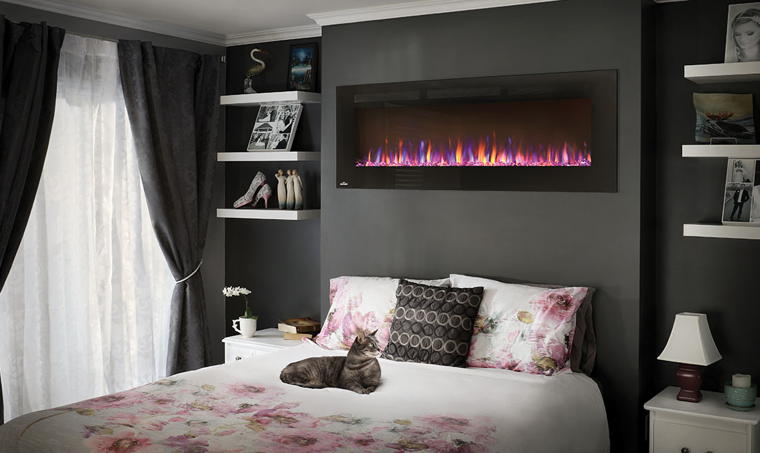 Imagine transforming a room simply by hanging something. You can do that with the Napoleon Allure 60 Electric Fireplace. No gas fitter required.