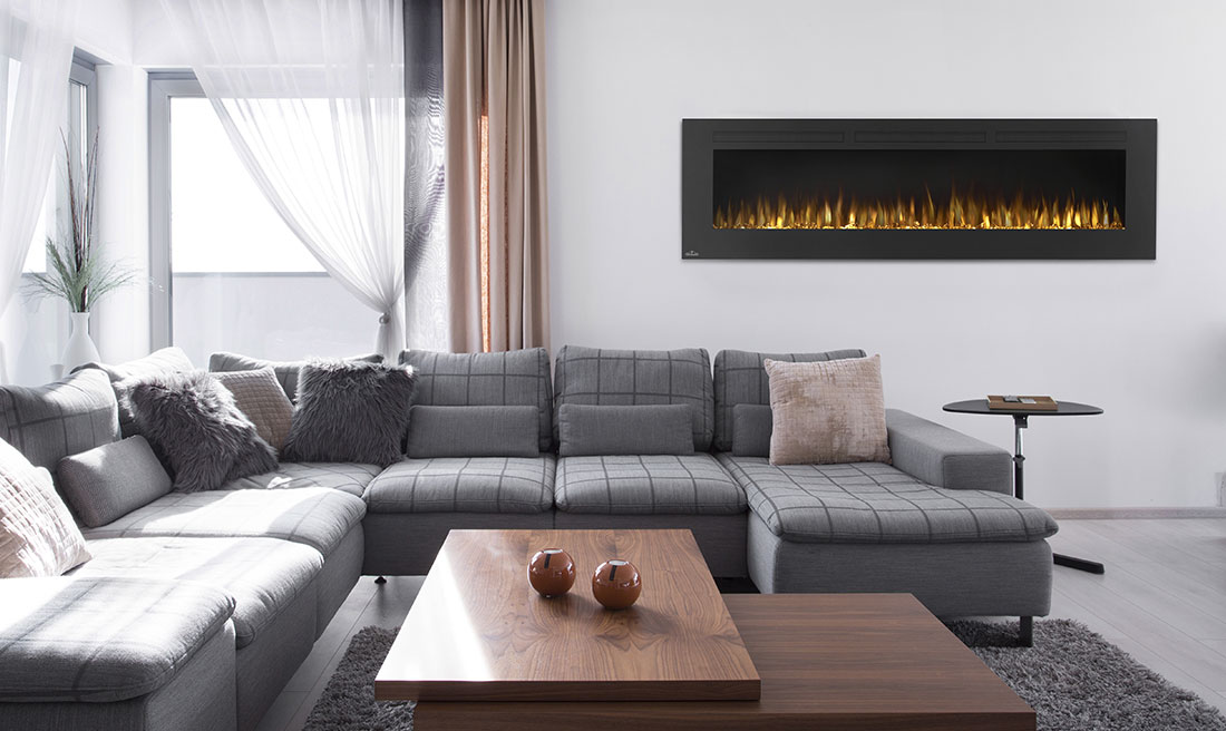 "Completely transform your space by hanging a Napoleon Allure 72 Electric Fireplace. The Allure 72"" is a work of art"