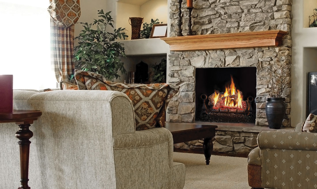 The Napoleon Fiberglow 30 Gas Log Set installs into an existing wood fireplace opening and uses the chimney to vent. No major renovations needed.