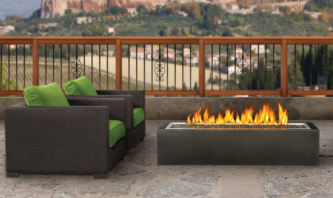 The Napoleon Linear Patioflame comes complete with a Hammertone pewter powder coated cabinet and exclusive Topaz CRYSTALINE ember bed. Find Out More.