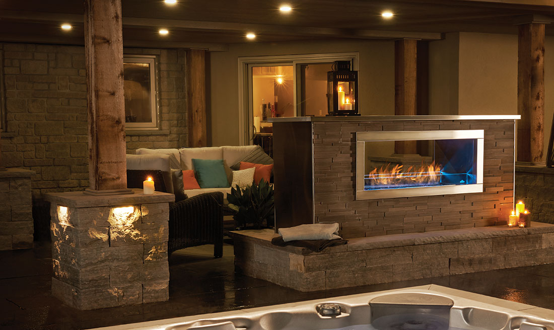 The Napoleon Galaxy See Thru Outdoor Gas Fireplace is truly unique with a linear