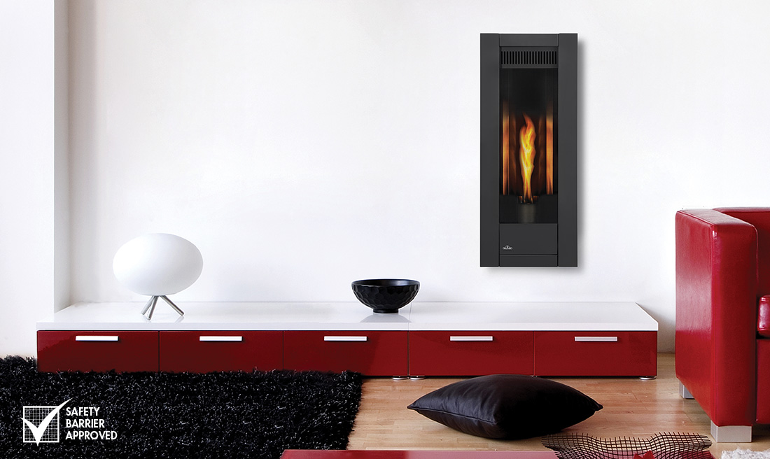 The simplicity of the Napoleon Torch Gas Fireplace a modern fireplace with a slim design featuring a reflective