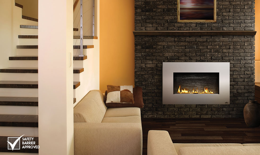 A modern fireplace that hangs on your wall. Ideal for modern and contemporary rooms