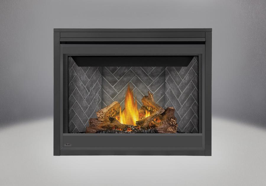 PHAZER<sup>®</sup> Log Set, Decorative Brick Panels Westminster Herringbone, Standard Safety Barrier