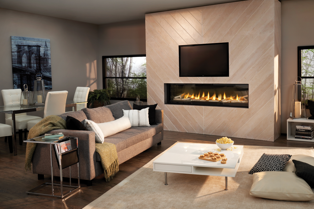 Luxuria 74 Modern Living Room With Birch Log Set