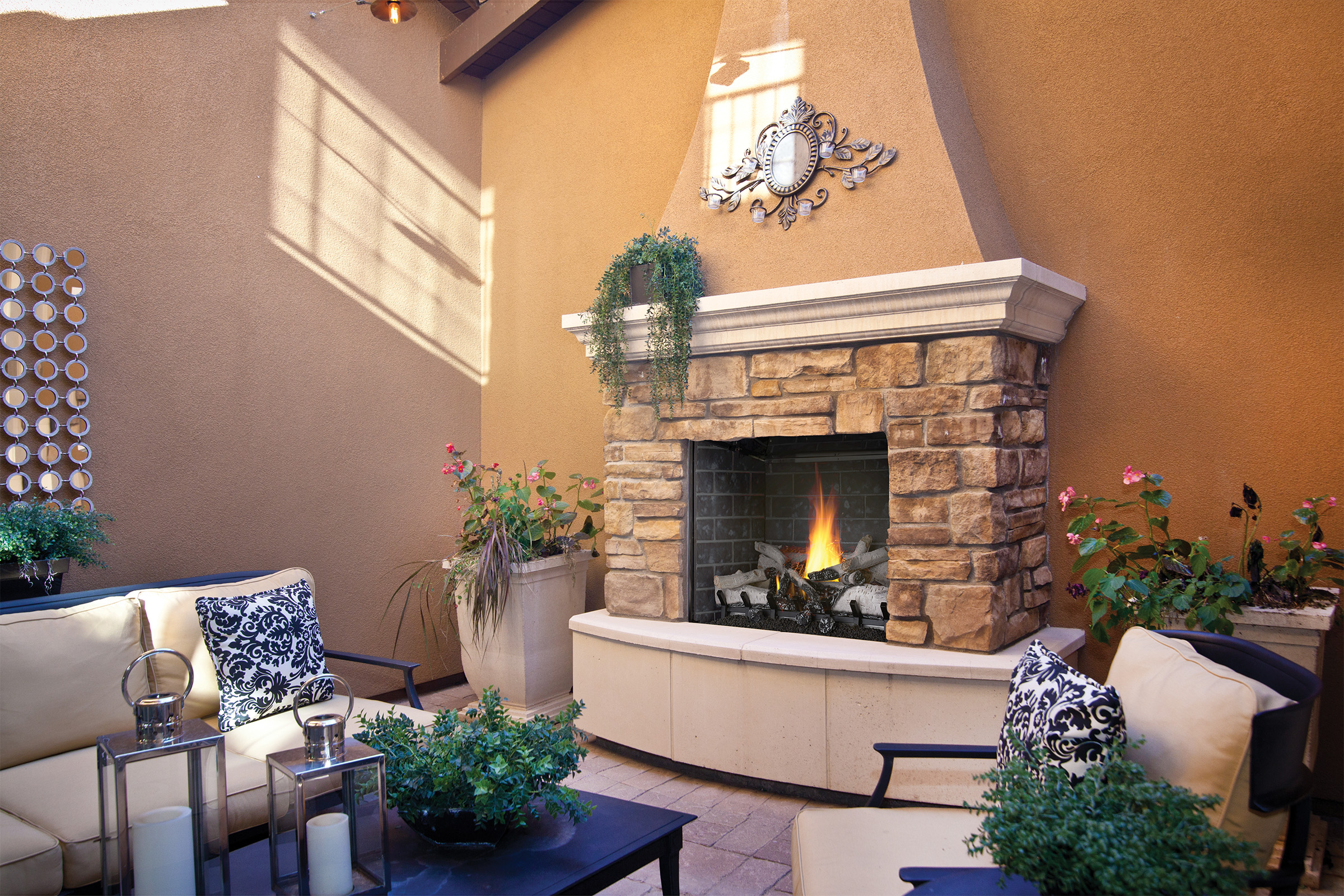 ideas gas fire integrated area harmony tampa bay fireplace photos with features outdoor gallery design water photo fireplaces