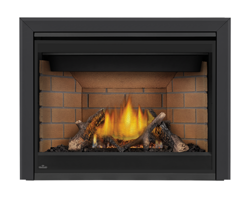 Premium Split Oak Logset, Sandstone Standard Brick Panels, 3
