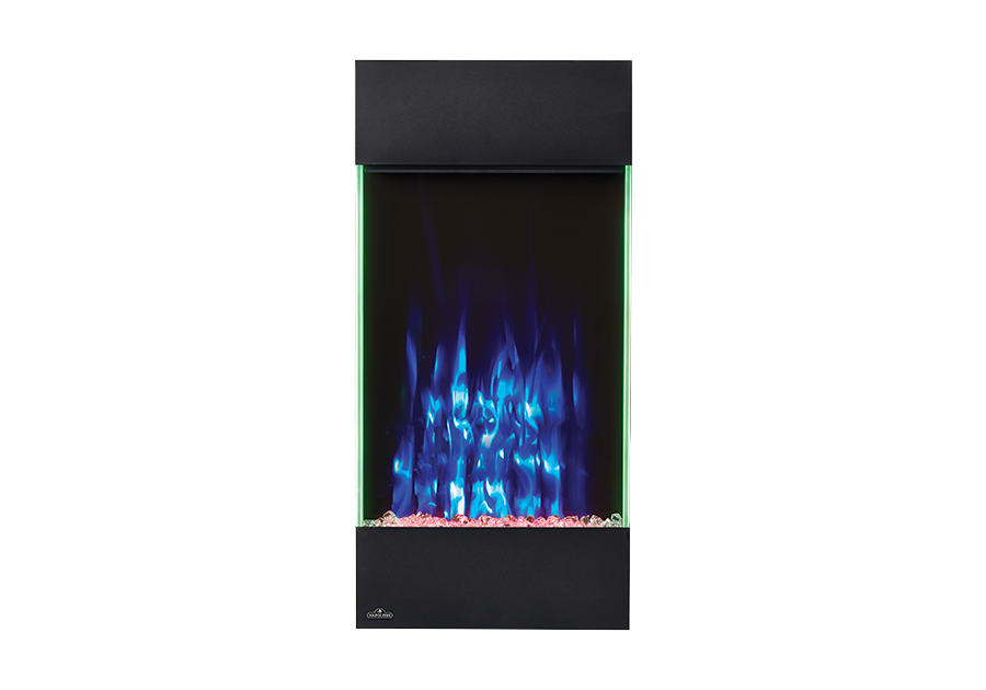 Shown with blue flame color, red ember bed lights and accent side lights on green
