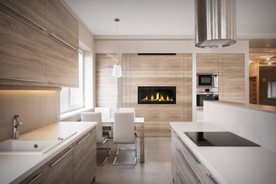 A fireplace in the kitchen makes mealtime delightful