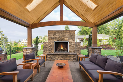 Outdoor fireplaces add ambiance and extend outdoor season