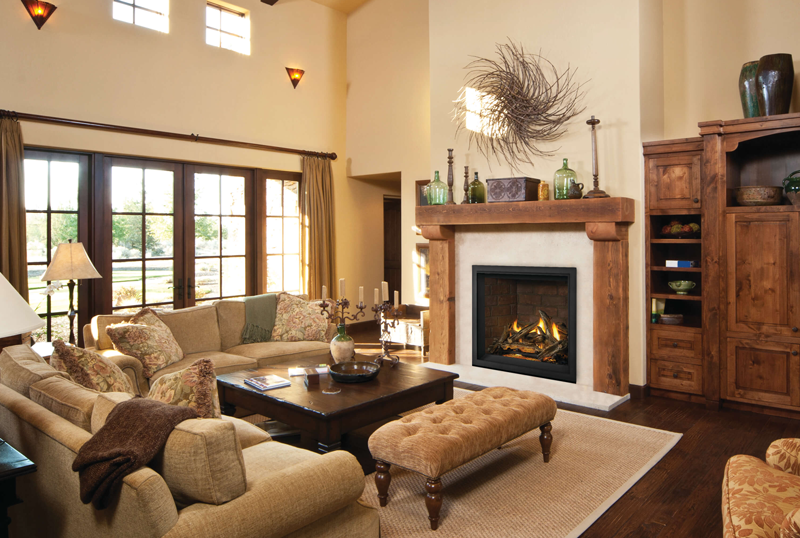 Elevation X Fireplace with Driftwood Rustic Design