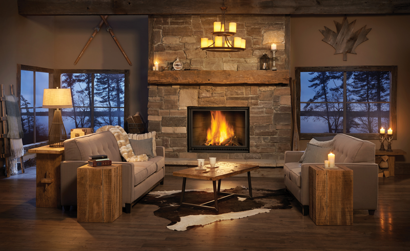 High Country Wood Burning Fireplace Rustic Design