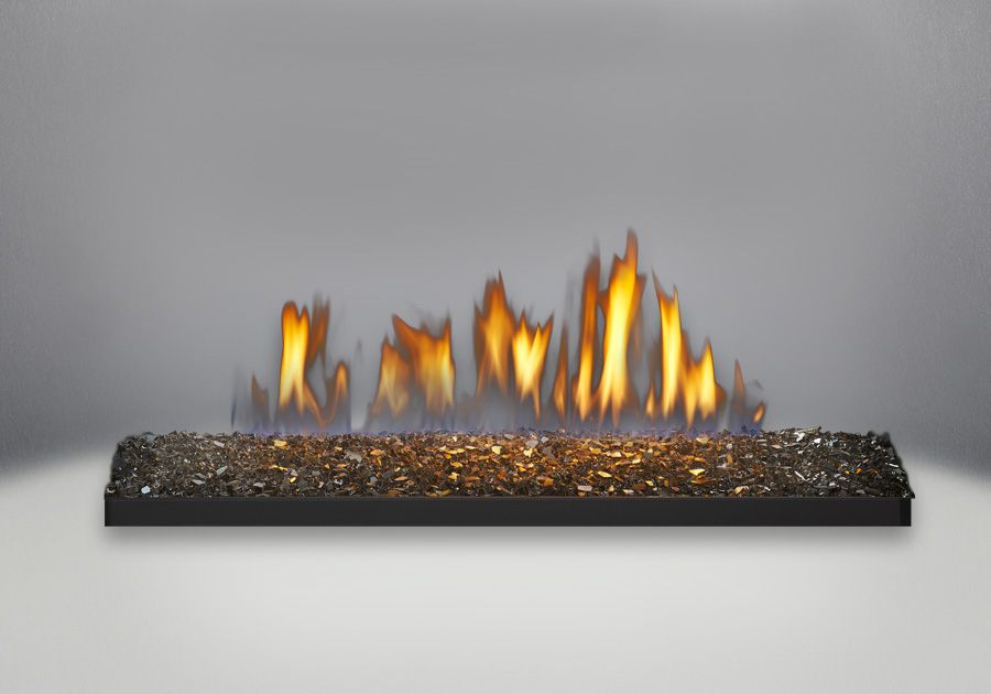 Linear Glass Burner Comes Standard With Topaz CRYSTALINE<sup>™</sup> Ember Bed