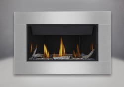 Topaz CRYSTALINE<sup>&trade;</sup> ember bed, Beach Fire Kit, MIRRO-FLAME<sup>&trade;</sup> Porcelain Reflective Radiant Panels, Premium 4-Sided Surround with safety screen