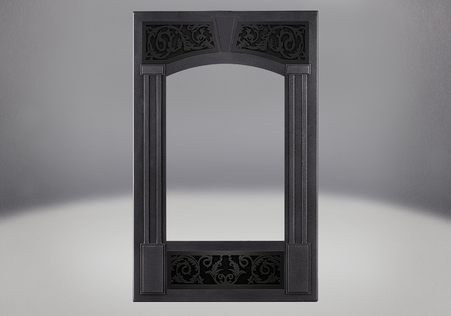 Traditional Facing Kit in Pewter Finish with Painted Metallic Black Ornamental Insets