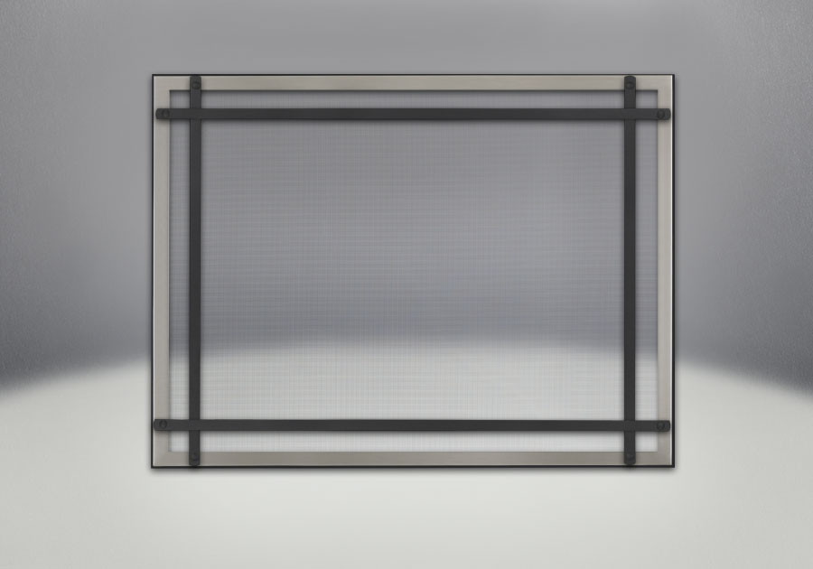 Classic Resolution front shown with overlay in brushed stainless and black straight accent bars, complete with safety barrier