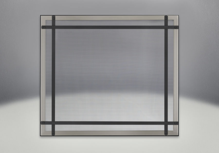Classic Resolution front shown with overlay in brushed nickel and black straight accent bars, complete with safety barrier
