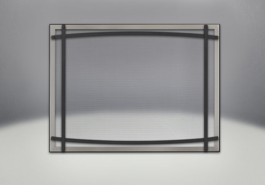 Classic Resolution front shown with overlay in brushed nickel and black curved accent bars, complete with safety barrier
