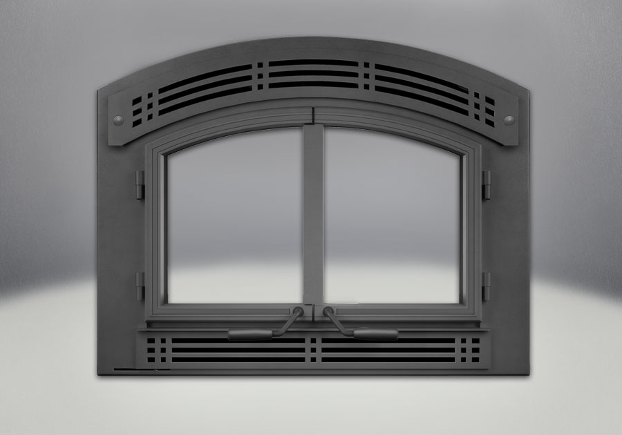 NZ3000H Complete Arched Cast Iron Double Doors, Arched Faceplate & Modern Inset, Painted Black Finish